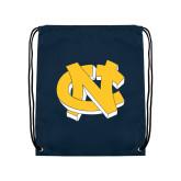 Navy Drawstring Backpack-NC Interlocking