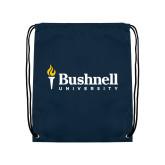 Navy Drawstring Backpack-Bushnell University Primary Mark