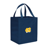Non Woven Navy Grocery Tote-NC Interlocking