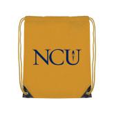 Gold Drawstring Backpack-NCU Logo