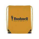 Gold Drawstring Backpack-Bushnell University Primary Mark