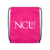 Pink Drawstring Backpack-NCU Logo