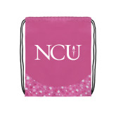 Nylon Pink Bubble Patterned Drawstring Backpack-NCU Logo