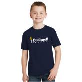 Youth Navy T Shirt-Bushnell University Primary Mark