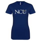 Next Level Ladies SoftStyle Junior Fitted Navy Tee-NCU Logo