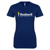 Next Level Ladies SoftStyle Junior Fitted Navy Tee-Bushnell University Primary Mark