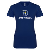 Next Level Ladies SoftStyle Junior Fitted Navy Tee-Bushnell Athletic Mark