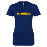 Next Level Ladies SoftStyle Junior Fitted Navy Tee-Bushnell Athletics Wordmark