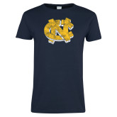 Ladies Navy T Shirt-Official Artwork Distressed 2