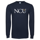 Navy Long Sleeve T Shirt-NCU Logo