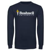 Navy Long Sleeve T Shirt-Bushnell University Primary Mark