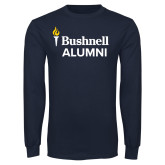 Navy Long Sleeve T Shirt-Bushnell University Alumni