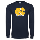 Navy Long Sleeve T Shirt-NC Interlocking