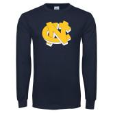 Navy Long Sleeve T Shirt-NC Interlocking