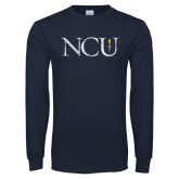 Navy Long Sleeve T Shirt-NCU Distressed