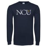 Navy Long Sleeve T Shirt-NCU Distressed