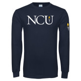 Navy Long Sleeve T Shirt-NCU Logo