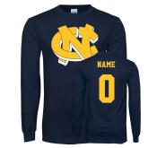 Navy Long Sleeve T Shirt-NC Interlocking, Custom Tee w/ Name and #