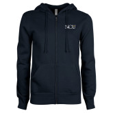 ENZA Ladies Navy Fleece Full Zip Hoodie-NCU Logo