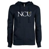 ENZA Ladies Navy Fleece Full Zip Hoodie-NCU Logo