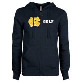 ENZA Ladies Navy Fleece Full Zip Hoodie-Golf