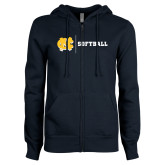 ENZA Ladies Navy Fleece Full Zip Hoodie-Softball