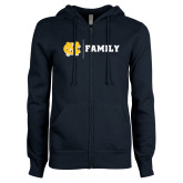 ENZA Ladies Navy Fleece Full Zip Hoodie-Family