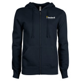 ENZA Ladies Navy Fleece Full Zip Hoodie-Bushnell University Primary Mark
