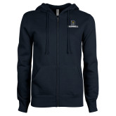 ENZA Ladies Navy Fleece Full Zip Hoodie-Bushnell Athletic Mark
