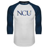 White/Navy Raglan Baseball T Shirt-NCU Logo