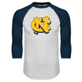 White/Navy Raglan Baseball T Shirt-NC Interlocking