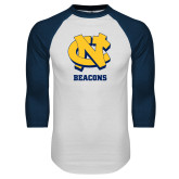 White/Navy Raglan Baseball T Shirt-CN Beacons