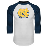 White/Navy Raglan Baseball T Shirt-Official Artwork Distressed 2