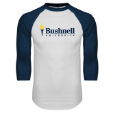 White/Navy Raglan Baseball T Shirt-Bushnell University Primary Mark