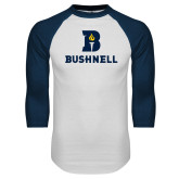 White/Navy Raglan Baseball T Shirt-Bushnell Athletic Mark