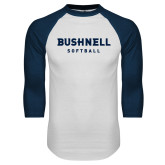 White/Navy Raglan Baseball T Shirt-Softball