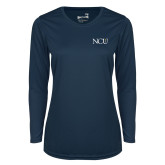 Ladies Syntrel Performance Navy Longsleeve Shirt-NCU Logo
