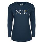 Ladies Syntrel Performance Navy Longsleeve Shirt-NCU Logo