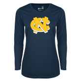 Ladies Syntrel Performance Navy Longsleeve Shirt-NC Interlocking