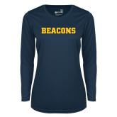 Ladies Syntrel Performance Navy Longsleeve Shirt-Beacons