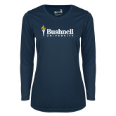 Ladies Syntrel Performance Navy Longsleeve Shirt-Bushnell University Primary Mark