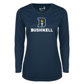 Ladies Syntrel Performance Navy Longsleeve Shirt-Bushnell Athletic Mark