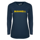 Ladies Syntrel Performance Navy Longsleeve Shirt-Bushnell Athletics Wordmark