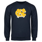 Navy Fleece Crew-NC Interlocking