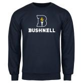 Navy Fleece Crew-Bushnell Athletic Mark