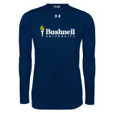 Under Armour Navy Long Sleeve Tech Tee-Bushnell University Primary Mark