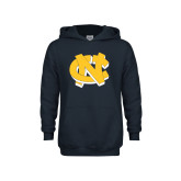 Youth Navy Fleece Hoodie-NC Interlocking