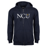 Navy Fleece Full Zip Hoodie-NCU Logo