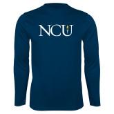 Performance Navy Longsleeve Shirt-NCU Logo