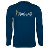 Performance Navy Longsleeve Shirt-Bushnell University Primary Mark